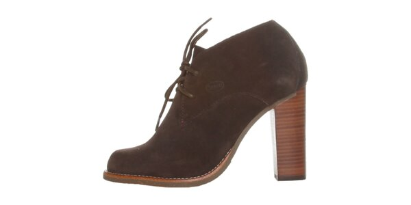 Dámské tmavě hnědé semišové šněrovací boty Dr. Scholl na vysokém podpatku