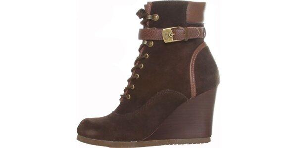 Dámské tmavě hnědé šněrovací kotníkové boty Dr. Scholl s klínem