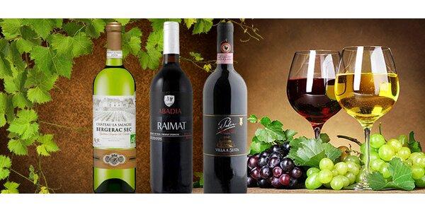 Tři láhve vína z vyhlášených oblastí