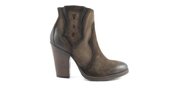 Dámské hnědé boty na podpatku Café Noir