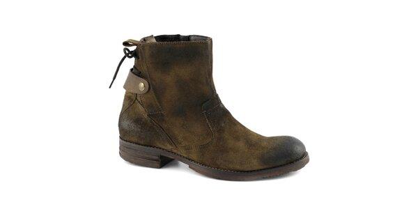 Pánské kotníkové boty se šněrováním na patě Café Noir