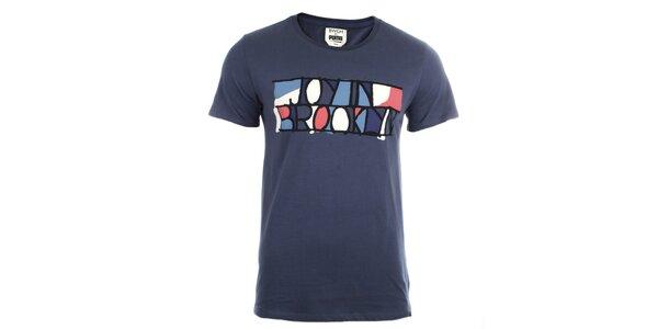Pánské modré tričko s barevným potiskem Puma