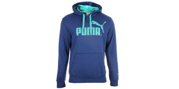 Pánská modrá mikina s kapucí Puma