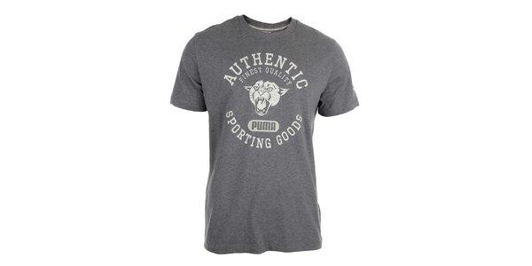 Pánské šedé tričko s bílým potiskem Puma