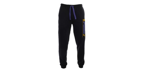Pánské černé teplákové kalhoty s fialovými prvky Puma