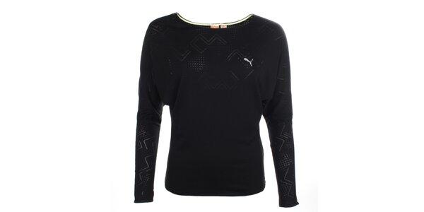 Dámské černé sportovní tričko s netopýřími rukávy Puma