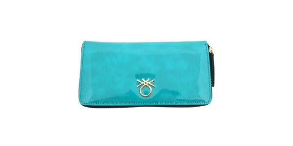 Dámská lesklá peněženka United Colors of Benetton - tyrkysová