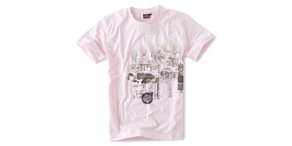 Pánská světle růžové tričko Brunotti s potiskem