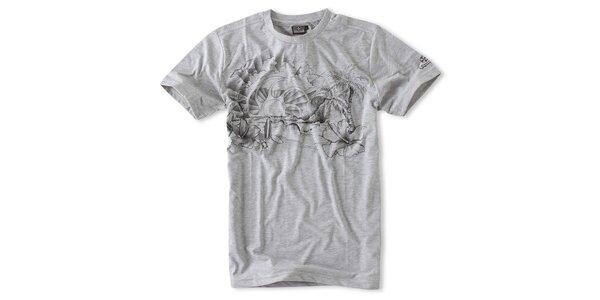 Pánská světle šedé melírované tričko Brunotti s potiskem