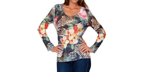Dámské tričko s barevným květinovým vzorem a kamínky Peace&Love
