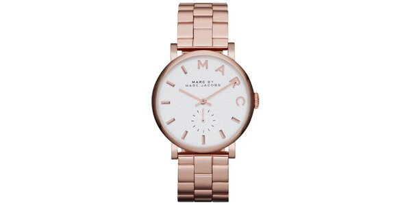 Dámské růžově zlaté hodinky s kulatým pouzdrem Marc Jacobs