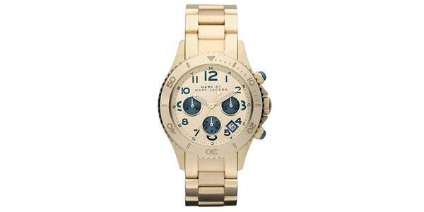Dámské pozlacené hodinky s modrými prvky Marc Jacobs