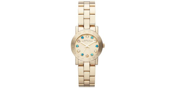 Dámské pozlacené hodinky s barevnými krystalky Marc Jacobs