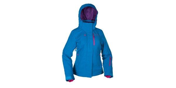 Dámská světle modrá zimní bunda s růžovými prvky Envy