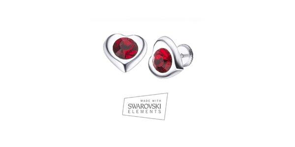 Dámské srdíčkové náušnice s červeným krystalem Swarovski Elements