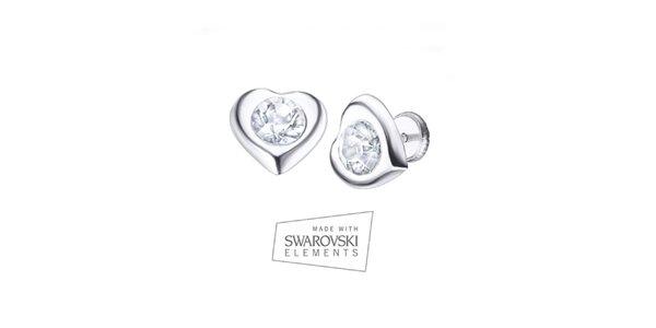 Dámské srdíčkové náušnice s krystalem Swarovski Elements