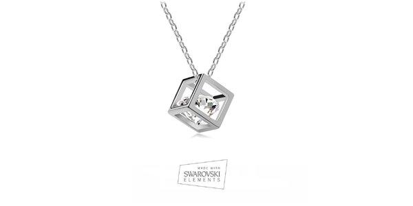 Dámský náhrdelník s krychlí a krystalem Swarovski Elements