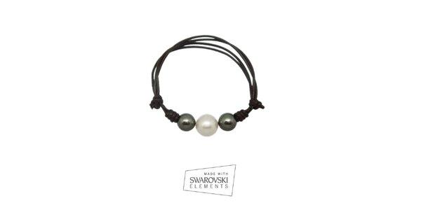 Dámský kožený náramek s šedivými perlami Swarovski Elements