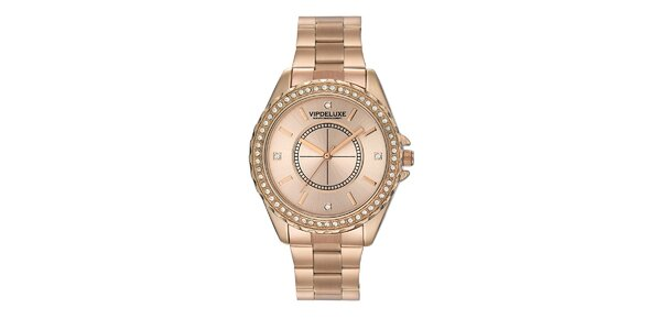 Dámské hodinky v barvě růžového zlata a s krystalky na lunetě Swarovski Elements