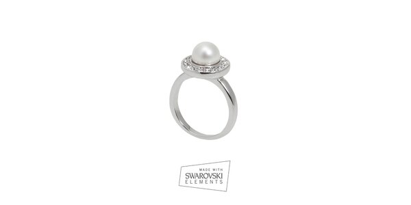 Dámský prsten s bílou perlou Swarovski Elements