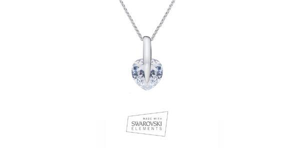 Dámský náhrdelník se srdíčkovým přívěskem Swarovski Elements