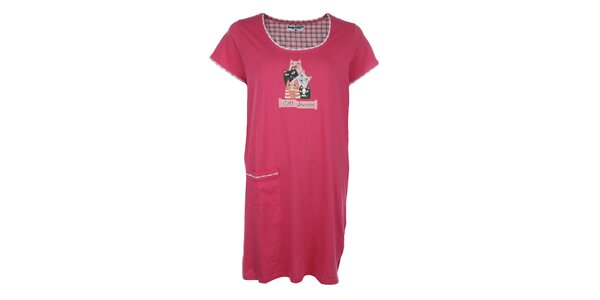 Dámská růžová noční košile s kočkami a kapsou Body International