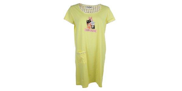 Dámská žlutá noční košile s kočkami a kapsou Body International