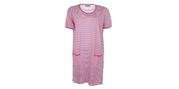 Dámská růžově pruhovaná noční košile Body International