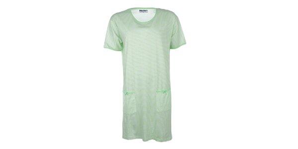 Dámská zeleně pruhovaná noční košile Body International