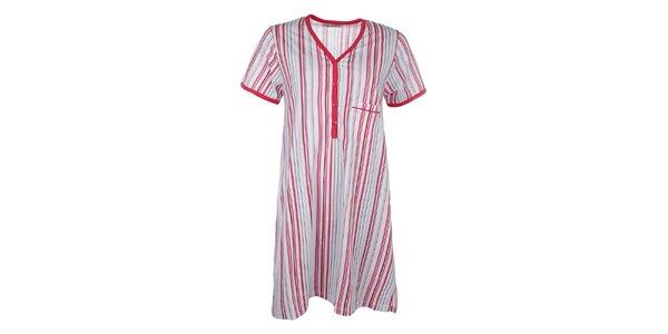 Dámská pruhovaná noční košile s červenými prvky Body International