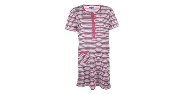 Dámská růžově pruhovaná noční košile s kapsičkou Body International