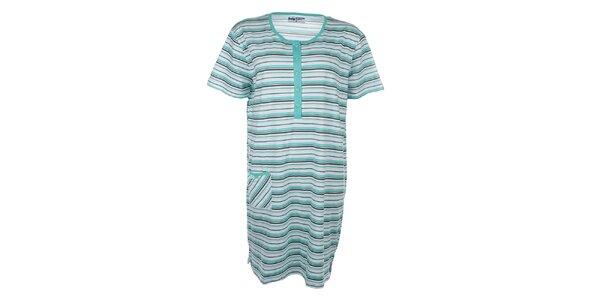 Dámská zeleně pruhovaná noční košile s kapsičkou Body International