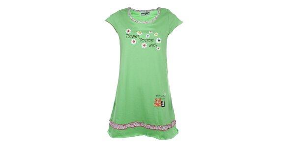 Dámská světle zelená noční košile s potiskem a volánkem Body International