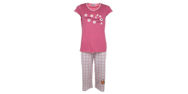 Dámské růžové pyžamo s kvítky a kostkovanými kalhotami Body International