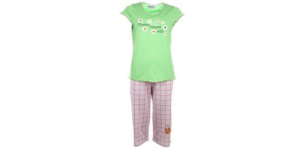Dámské světle zelené pyžamo s kvítky a kostkovanými kalhotami Body International