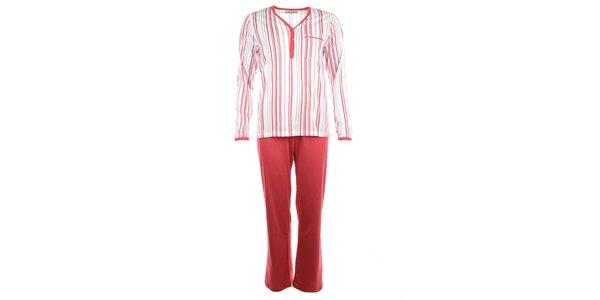 Dámské pruhované pyžamo s červenými kalhotami Body International