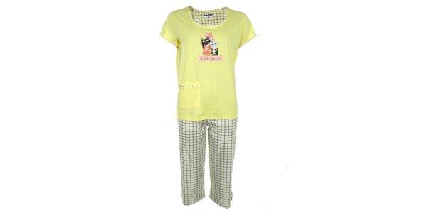 Dámské žluté pyžamo s kostkovanými 3/4 kalhotami Body International