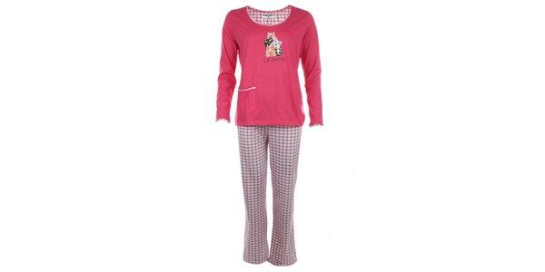 Dámské růžové pyžamo s kostkovanými kalhotami Body International