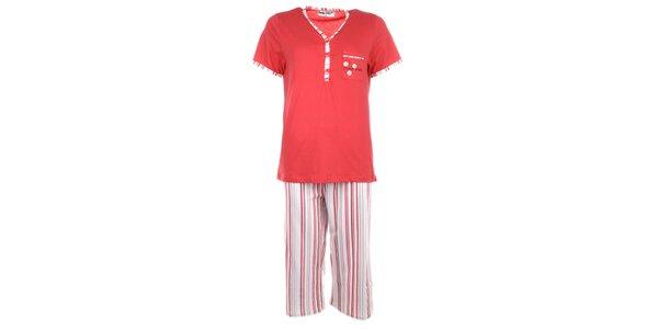 Dámské červené pyžamo s proužky Body International