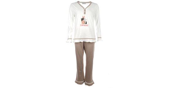 Dámské bílé pyžamo s barevnými kočičkami Body International