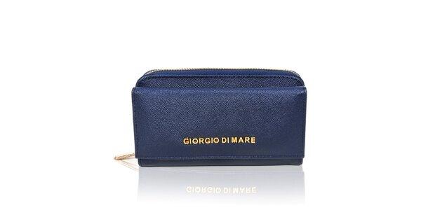 Dámská tmavě modrá peněženka se zlatým zipem Giorgio di Mare