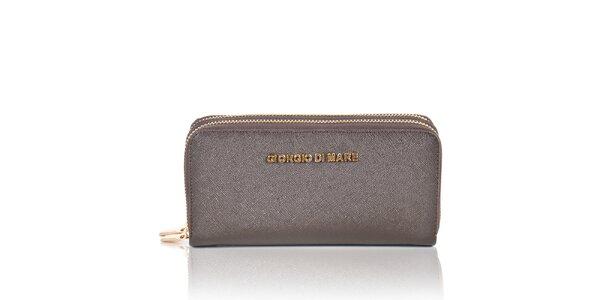 Dámská tmavě hnědá peněženka se zipy Giorgio di Mare