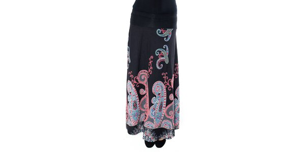 Dámská dlouhá černá sukně s barevným vzorem First