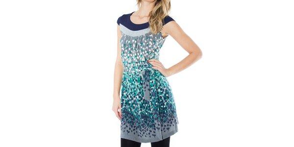 Dámské šedé šaty s barevnými lístečky First