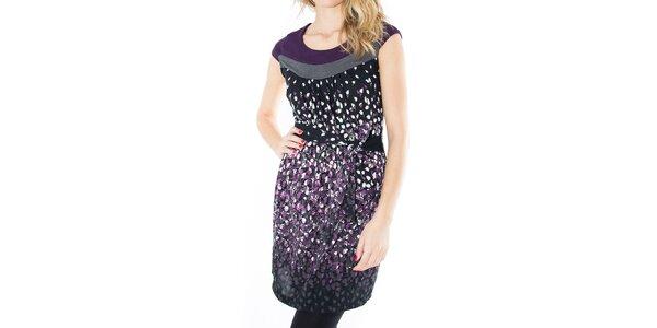 Dámské černé šaty s barevnými lístečky First