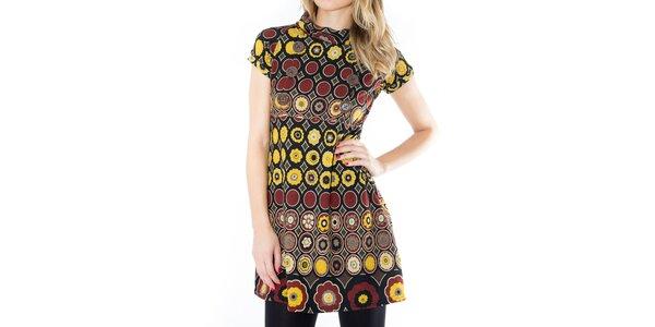 Dámské vzorované šaty s hnědými knoflíčky First