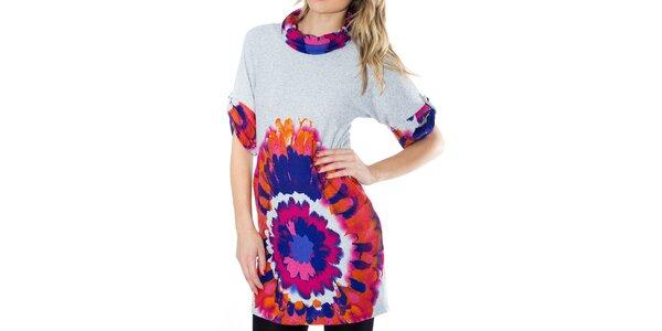 Dámské šaty s oranžovo-modro-růžovým potiskem First