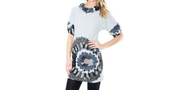Dámské šaty s šedo-modrým potiskem First