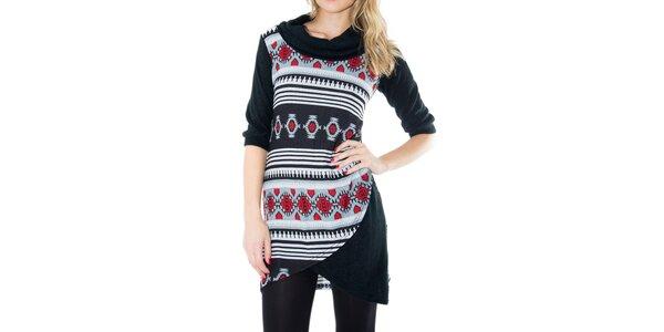 Dámské černé šaty s červeno-šedým vzorem First