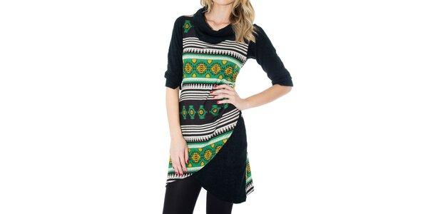 Dámské černé šaty se žluto-zeleným vzorem First